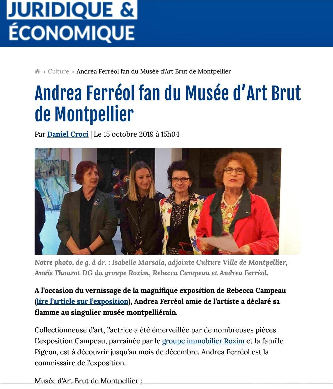 Andrea Ferreol fan du musée d'Art Brut de Montpellier